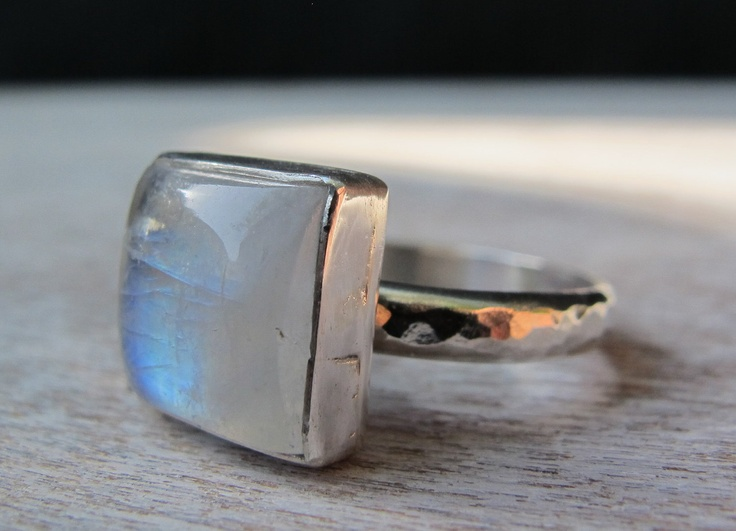 Moonstone Ring/ Sterling Silver Ring with Rainbow Moonstone/Handmade. $70.00, via Etsy.