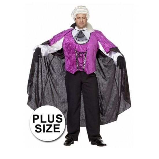 Grote maten vampier kostuum. Dit vampieren pak is zwart met paarse kleurstelling bestaat uit de hes en de cape.
