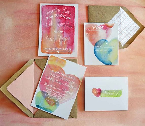Watercolor Wedding Invitations Ready Made by TyingTheKnots