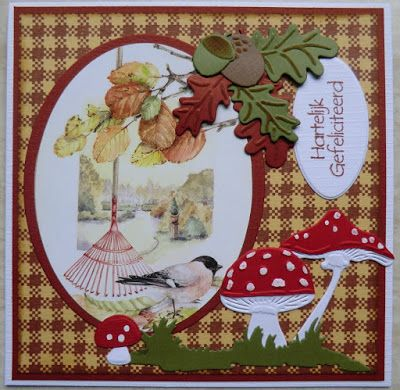 Card made by DT member Hanny She used the Watercolor paper pad PK9127, Mushrooms LR0372, Grass Border LR0360, Oak leaves & achorns LR0373, image by Mattie MB0154 and background stamps CS0938