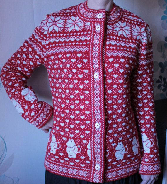 Sweater for adult with moomin pattern by LanaNere on Etsy