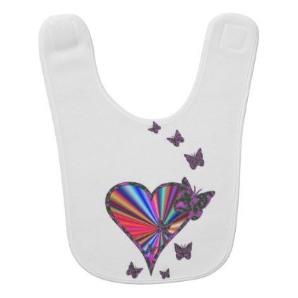 Rainbow Heart and Butterfly Bib - animal gift ideas animals and pets diy customize