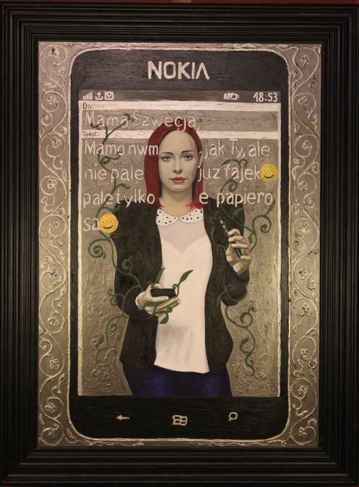 """,,SMS do mamy w Szwecji"""", 2012-2016r. olej-akryl na płótnie, 100x70cm"""
