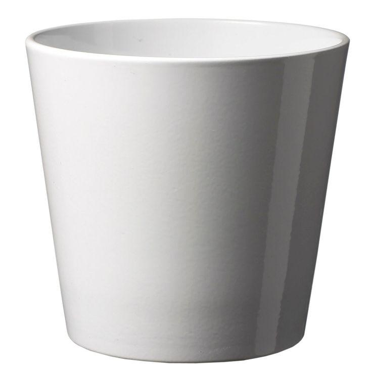 Basel Glazed White Plant Pot (H)34cm (Dia)36cm | Departments | DIY at B&Q
