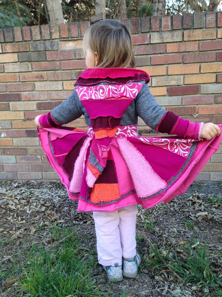 Upcycled Sweater Coat! Pixie hood, Pink, Prange, Purple, Wool Free, Toddler