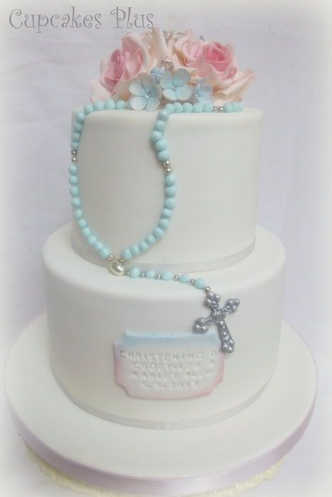 Pink and blue Christening Cake