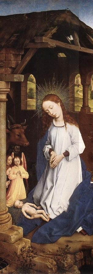 This Nativity by Rogier van der Weyden, follows Bridget's vision, with donor portrait and ruins