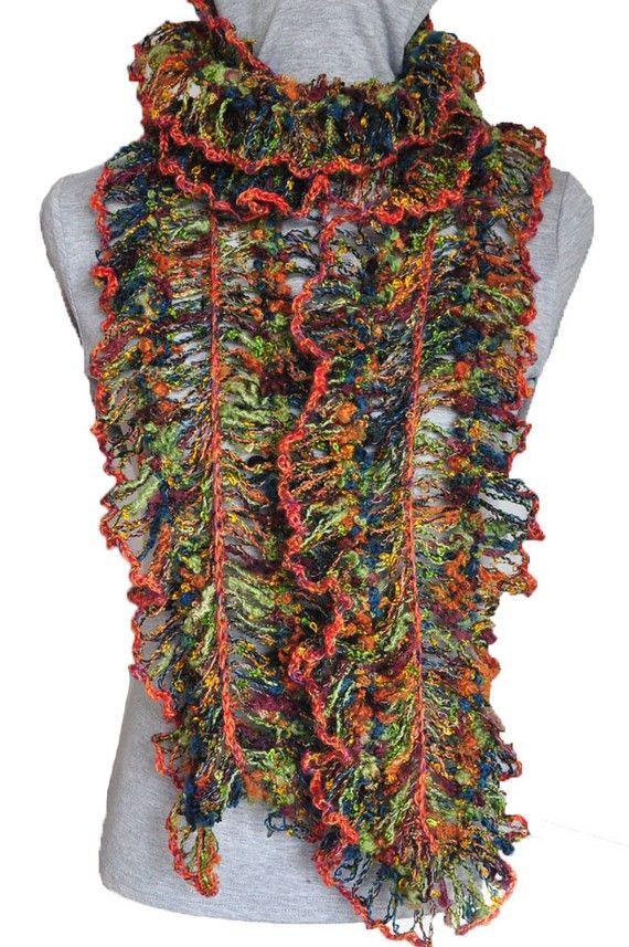 "Hairpin Lace scarf using ""modern"" yarn"