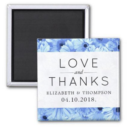 #Thank You - Gerbera Flowers Blossoms - Blue Magnet - #WeddingMagnets #Wedding #Magnets Wedding Magnets