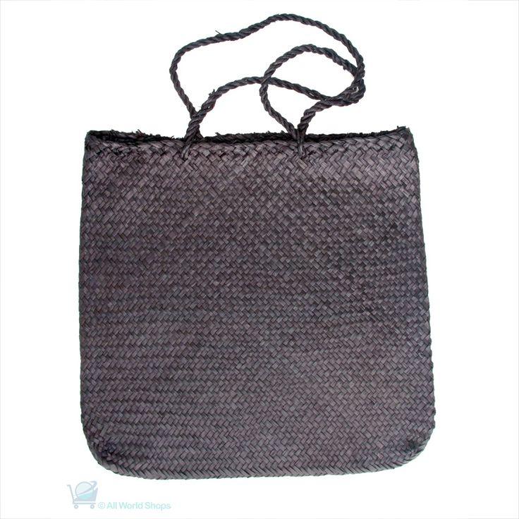 Flax Bag Medium with Long Handles – Black | Shop New Zealand