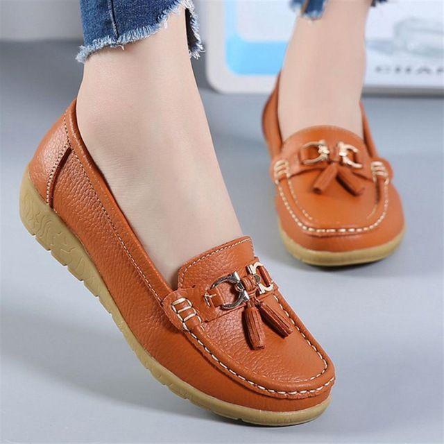 Zapatos de primavera mujer zapatos de cuero genuino moda casual mocasines flecos sin cordones punta redonda zapato sólido | www   – zapatos