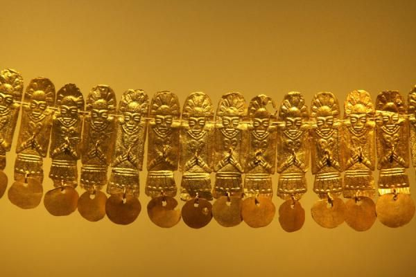 Detail of a golden necklace, Museo del Oro, (Gold Museum), Colombia <3