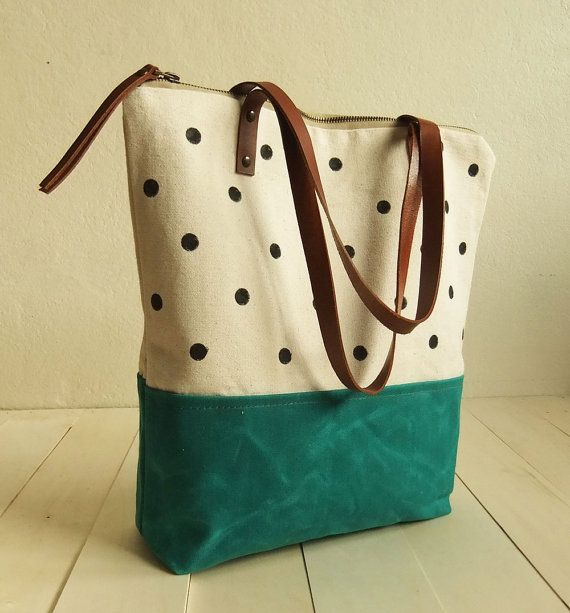 Large zippered Waxed Canvas Tote hand painted dotted por metaphore