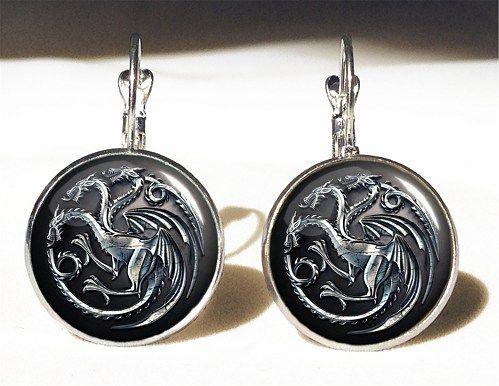 Game of thrones Dragon Big Earrings,Targaryen Khaleesi Crest Earrings