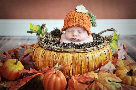 READY TO SHIP Pumpkin Hat Newborn Photography Prop Fall Autumn Halloween Texture