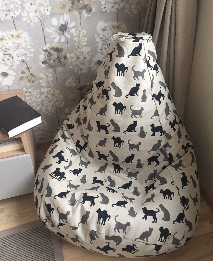 Natural Linen Bean Bag Chair Beanbag Cats Blackcat Scandinavianstyle