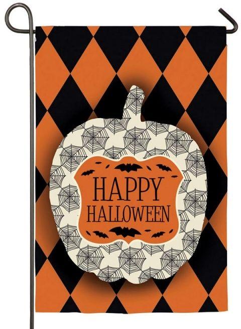 Happy Halloween Orange And Black Harlequin Pumpkin Garden Flag