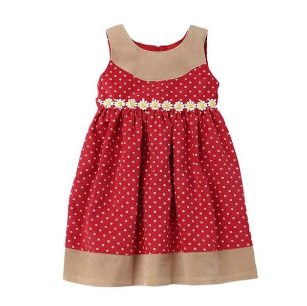 Sweet Baby Girls Corduroy Dress for Spring/Autumn Red Color Little White Dot Sweet Kids Dress 2-5 Years