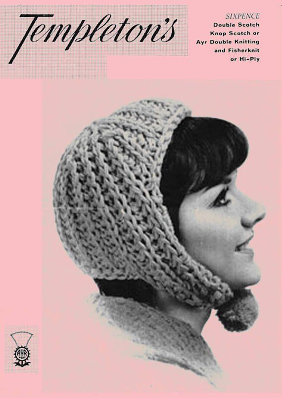 PDF Vintage 1960s Ladies Womens Hat Knitting Pattern Bonnet