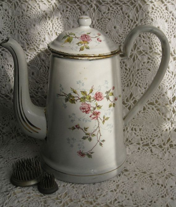 Vintage White & Pink Roses French Enamelware Coffee Pot 154