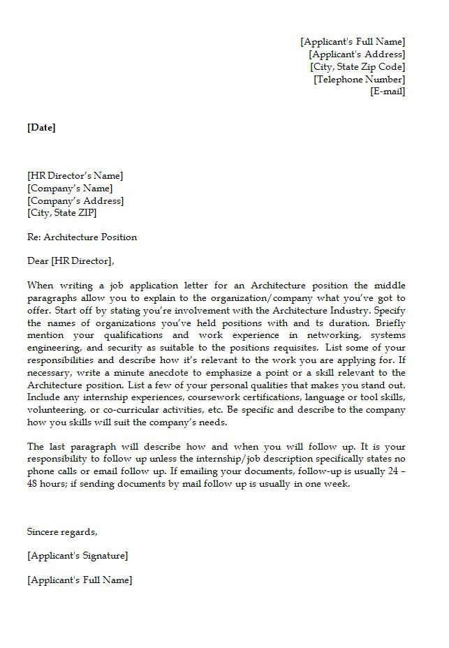 job application letter template for architecture position