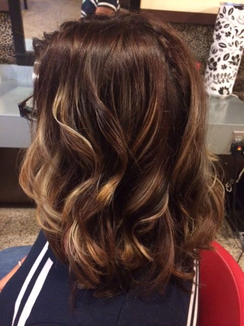 Golden Balayage Highlight With Rich Chocolate Brown Base