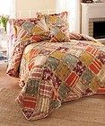 Queen Red Blue Rag Ruffle Country Floral Gingham Stripe 5P Quilt Bedding Set | eBay