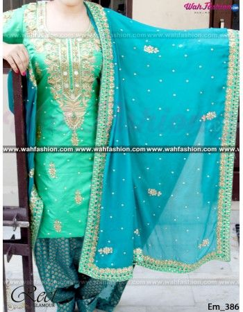 Give yourself a stylish & designer look with this Turquoise And See Green Embroidered Punjabi Suit. Embellished with Embroidery work and lace work. Available with matching bottom & dupatta. It will make you noticable in special gathering. You can design this suit in any color combination or on any fabric. Just whatsapp us for more details.  For more details whatsapp us: +919915178418