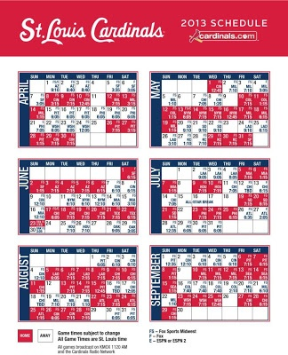Printable 2013 Cardinals Schedule! Can't wait!!!