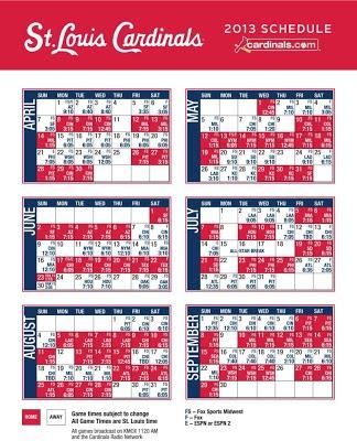 Printable 2013 Cardinals Schedule