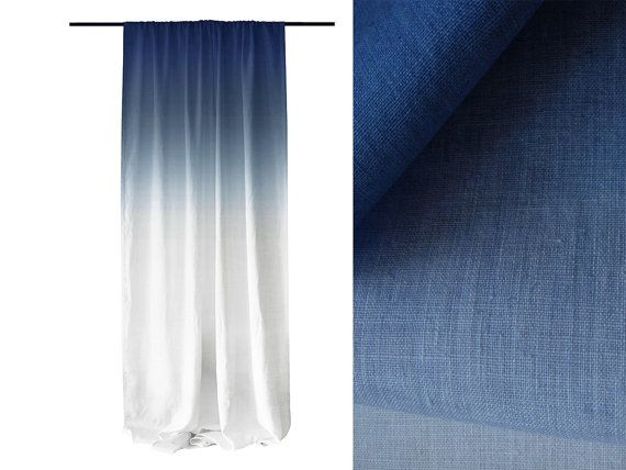 Ombre window curtains Blue fade to white linen rod pocket curtain Blackout lining option