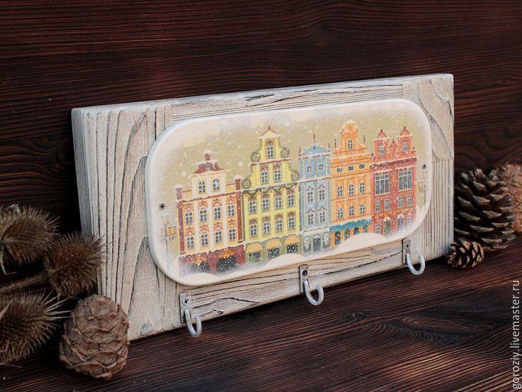 """Купить Вешалка-ключница """"Зимний город Амстердам"""" - белый, вешалка, вешалка для ключей, вешалка декупаж"""