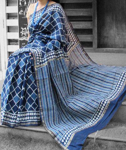 Elegant Chanderi Saree with Block Printing