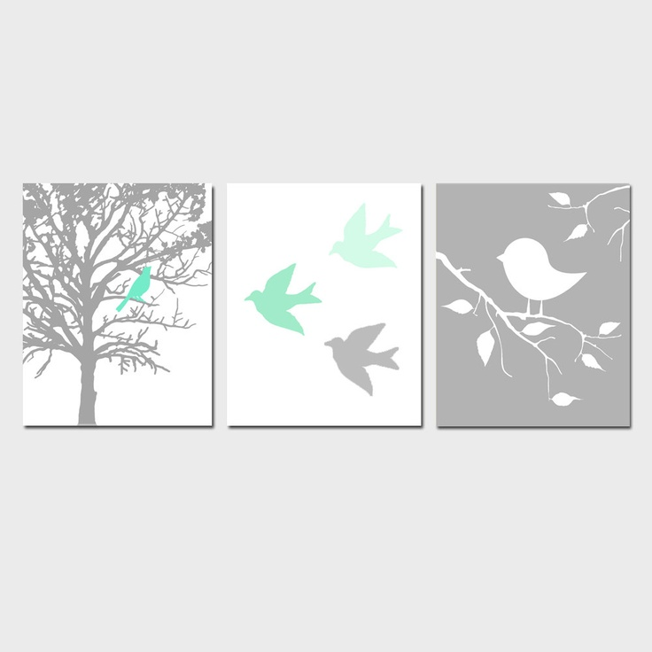 Modern Bird Trio - Set of Three 11x14 Prints - Gray, Mint Green, Yellow, Blue, Pink, and More - Perfect for Nursery. $59.50, via Etsy.