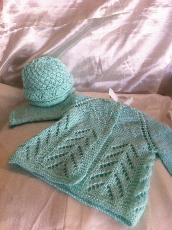 baby cardigan / Mint green baby sweater and hat set size by NARELO, $45.00