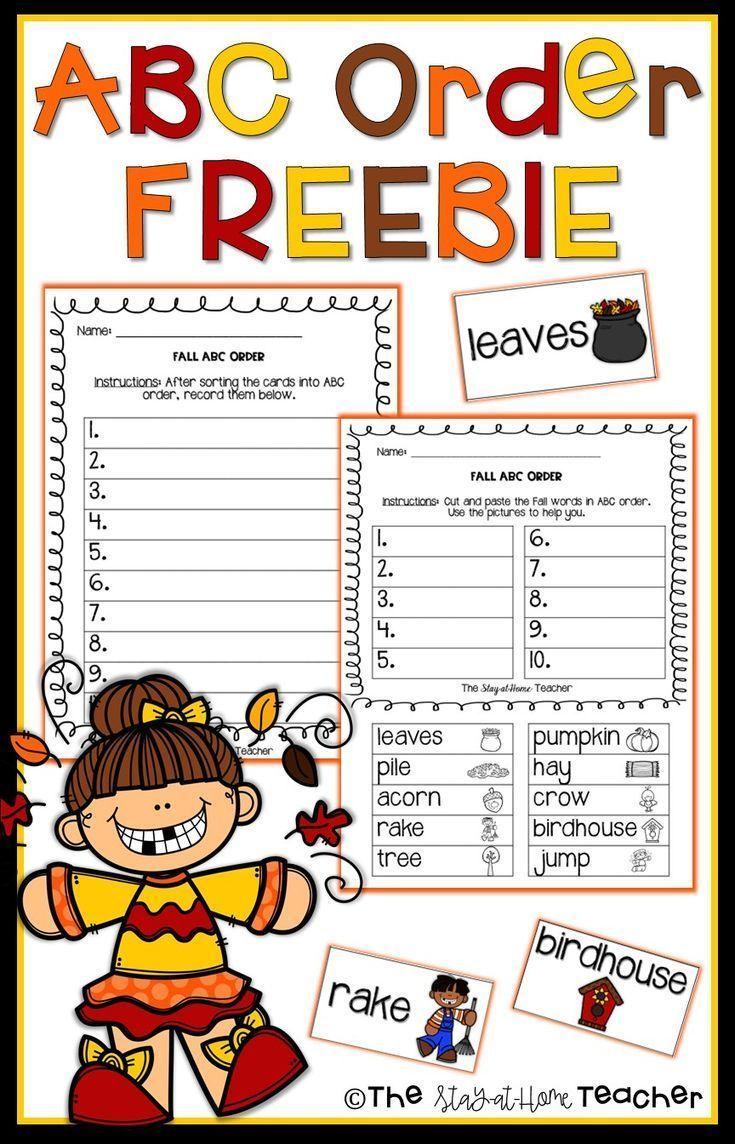 Abc Order Autumn Abc Order Teaching Homeschool Abc Order Worksheet