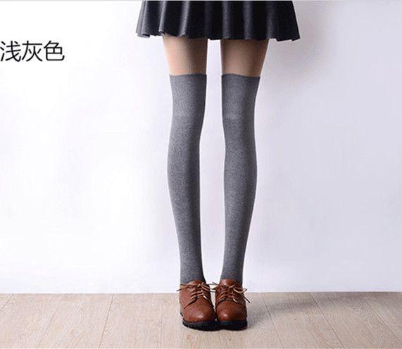201 7New 3 Warna Fashion wanita Kaus Kaki Seksi Stoking Paha Kaus Kaki Tinggi Di Atas Lutut Panjang Katun Hangat