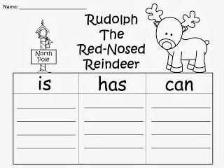 FREE: Rudolph The Red-Nosed Reindeer Sentence Writing....Rudolph The Red-Nosed Reindeer is...Rudolph The Red-Nosed Reindeer has....Rudolph The Red-Nosed Reindeer can... Freebie For A Teacher From A Teacher! fairytalesandfictionby2.blogspot.com