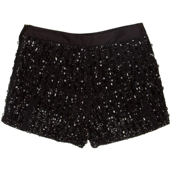 Pre-owned Vera Wang Silk Shorts ($375) ❤ liked on Polyvore featuring shorts, black, bottoms, pants, short, vera wang, zipper shorts, silk short shorts, short shorts and sequin shorts