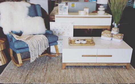 Our Fleetwood range of furniture teamed with one of our rocking chairs #rocker #shoplocal #furniture #timber #dcbdesigns #home #homewares #interiors #rug #mornington #dcbmornington #dollarcurtains #dcb
