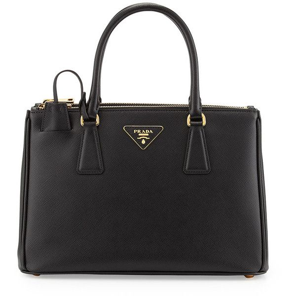 Prada Saffiano Small Double-Handle Tote Bag (8.115 BRL) ❤ liked on Polyvore featuring bags, handbags, tote bags, purses, malas, nero black, leather hand bags, tote handbags, leather handbag tote and handbags totes