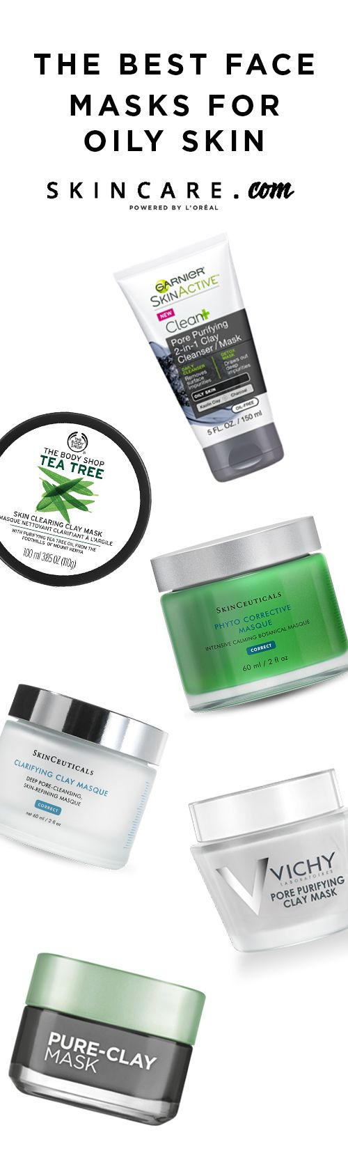 If you're looking for the best face masks for oily skin types, look no further than Garnier's Clean+ Pore Purifying 2-in-1 Clay Cleanser/Mask, Vichy's Pore Purifying Clay Mask, SkinCeuticals Clarifying Clay Masque, The Body Shop's Tea Tree Skin Clearing Clay mask, Kiehl's Rare Earth Deep Pore Cleansing Masque, L'Oréal Paris' Pure-Clay Mask Detox & Brighten Treatment Mask, & SkinCeuticals Phyto Corrective Masque. Click to read our product reviews on the best face masks for oily skin.