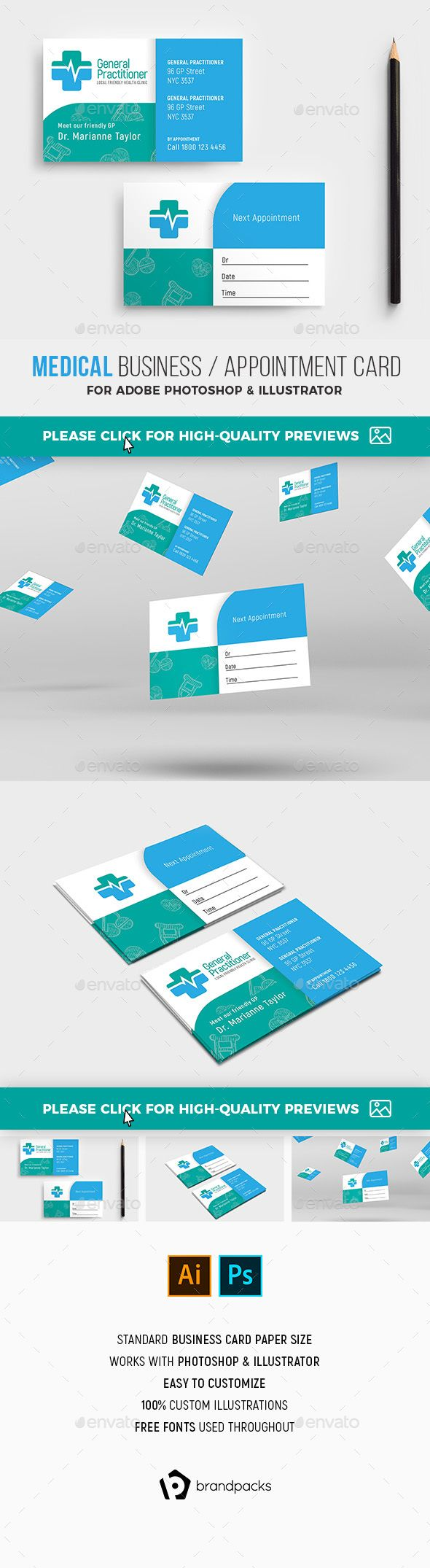 Medical Appointment Card Template Industry Specific Business Cards Business Card Template Design Medical Business Card Free Business Card Templates