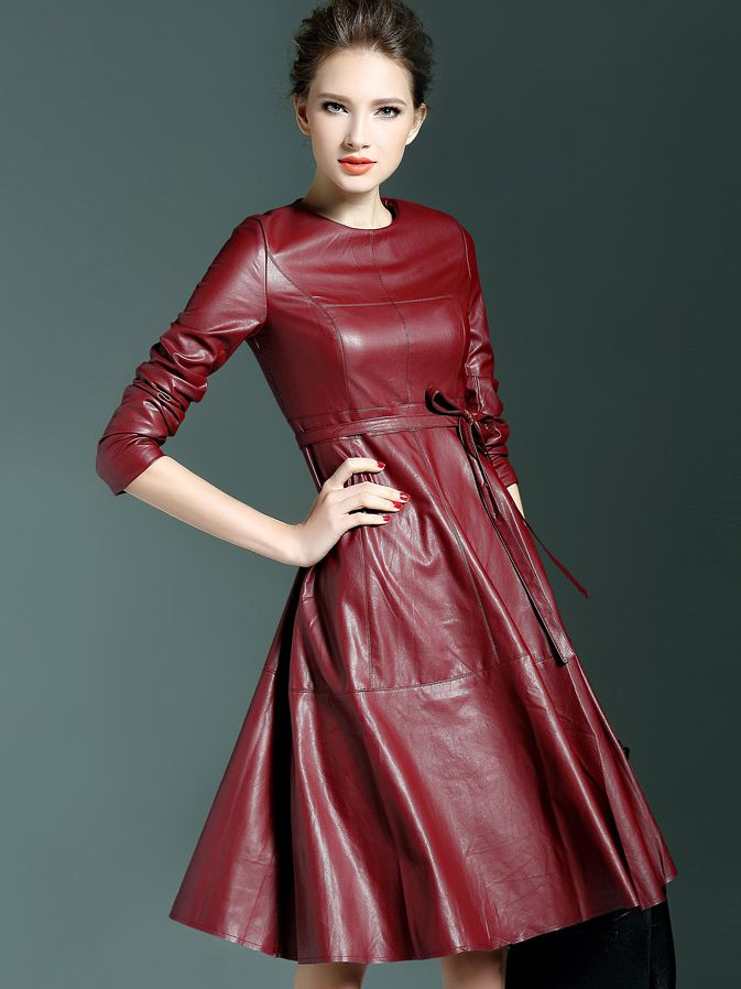 Win Red Round Neck Long Sleeve Tie-Waist Leather Dress