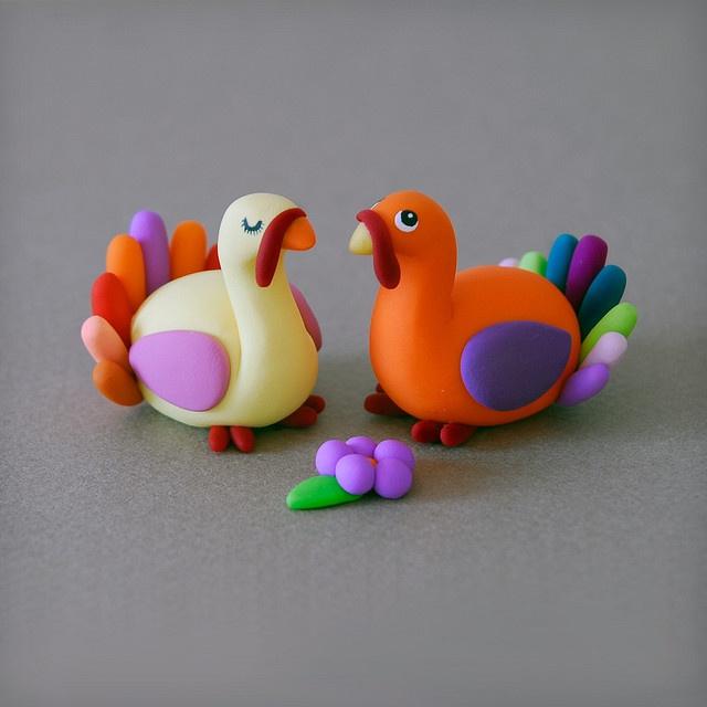 cute turkeys - fimo sculpey polymer clay