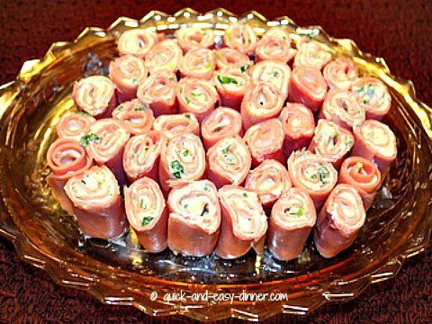 Ham Roll Up With Sliced Ham, Cream Cheese, Green Onions, Garlic Powder, Accent