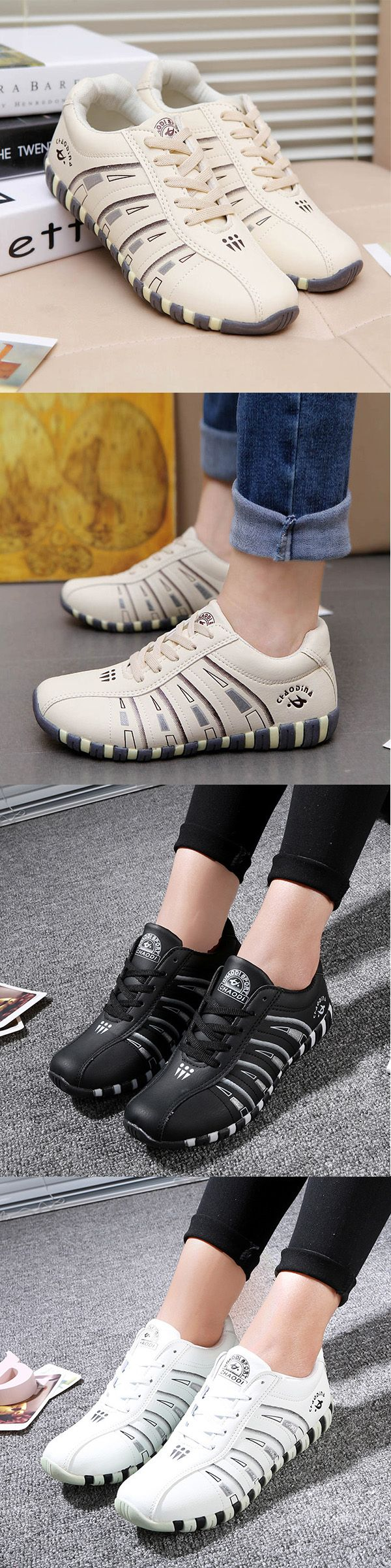 US$18.84  Printing Trainers Lace Up Comfortable Sport Casual Shoes For Women