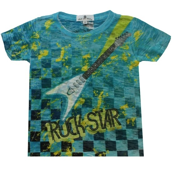 Rock Star Toddler Shirt by Stella Blu. Electric guitar on an electric blue onesie with the words ROCK STAR highlighted. Rock on baby. $25