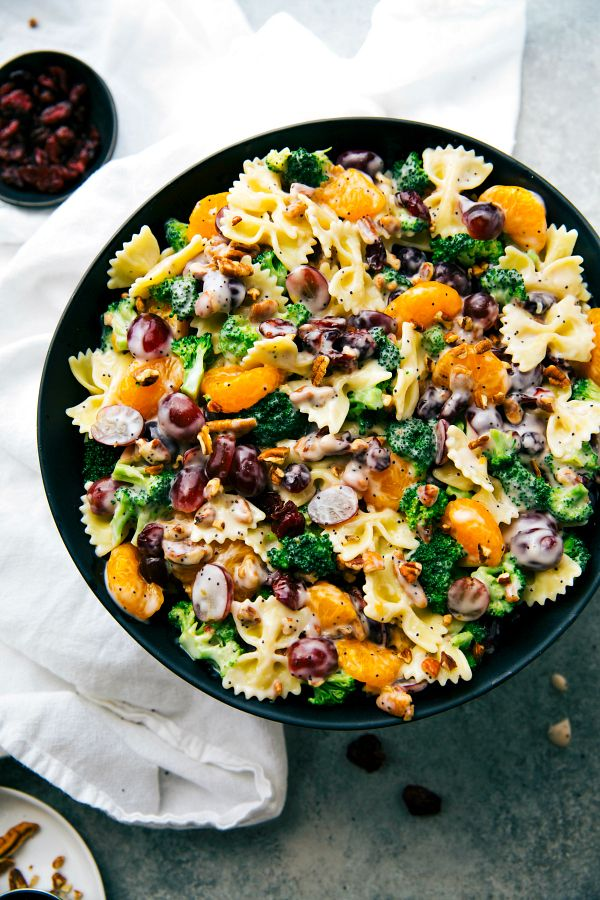The best ever BROCCOLI PASTA SALAD. Quick to make, 5-ingredient dressing, and sure to be a hit! | Posted By: DebbieNet.com |