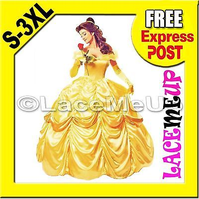 Deluxe Disney Belle Costume Beauty The Beast Movie Fancy Dress Ball Gown sz 8-24
